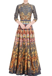 mustard-yellow-anarkali-gown-with-floral-print