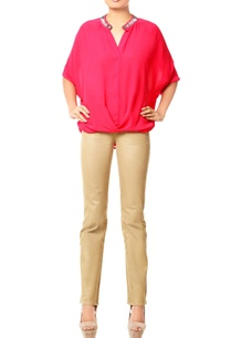 coral-pink-blouse-with-asymmetrical-hemline