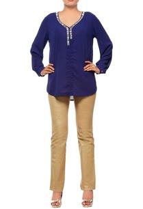 navy-blue-blouse-with-embellished-neck