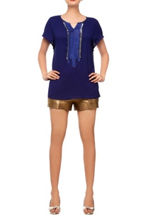 navy-blue-embellished-top-with-shorts