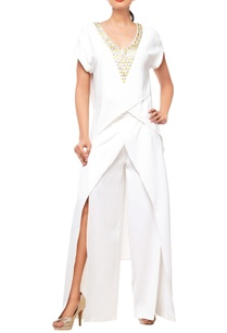 white-embellished-pant-set
