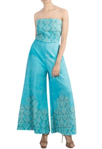 aqua-blue-embroidered-jumpsuit