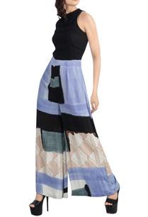 black-lavender-block-print-jumpsuit