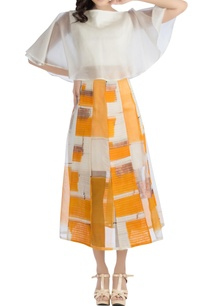 white-flared-top-orange-skirt