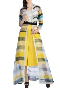 white-striped-jacket-with-yellow-culottes