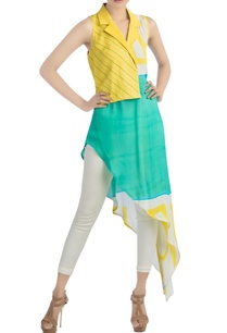 yellow-aqua-blue-printed-tunic