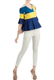 navy-blue-yellow-pleated-top