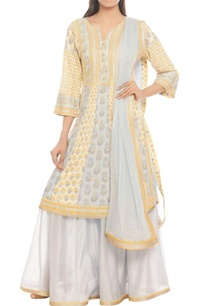 yellow-grey-floral-printed-lehenga-set
