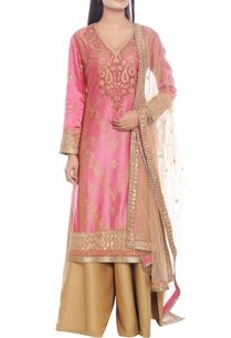 pink-beige-kurta-set-with-embroidery