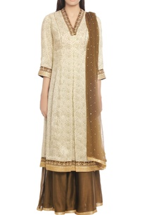 khaki-off-white-kurta-set-with-graphic-print