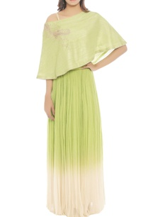 lime-green-skirt-set-with-one-shoulder-top