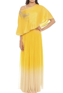 yellow-skirt-set-with-one-shoulder-top