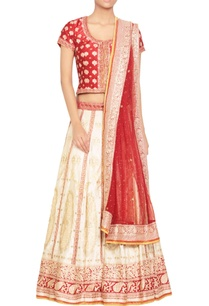 red-off-white-embellished-lehenga-set