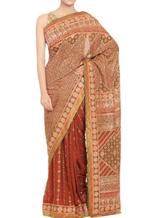 rust-brown-olive-green-embellished-sari