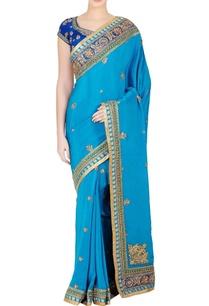 turquoise-blue-embellished-sari