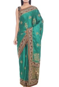 emerald-green-sari-with-royal-blue-highlight
