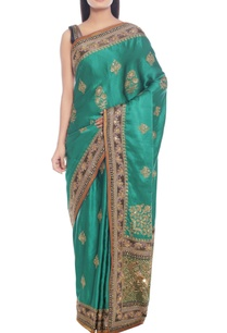 emerald-green-sari-with-royal-blue-highlight