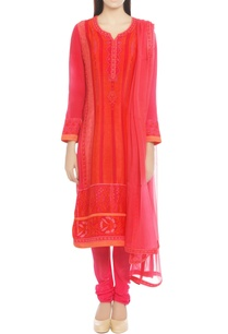 pink-orange-printed-kurta-set