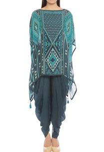 indigo-turquoise-printed-top-with-draped-pants