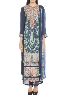 navy-blue-off-white-printed-kurta-set
