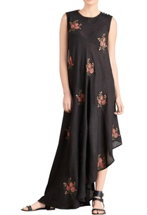 black-asymmetric-embroidered-maxi-dress