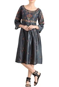 dark-grey-embroidered-midi-dress