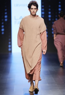 rust-brown-striped-long-kurta