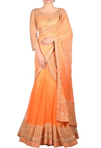 peach-lehenga-sari-with-embroidery