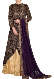 ox-blood-jacket-lehenga-set-with-beaded-embroidery