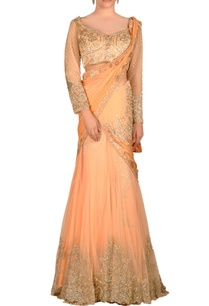 peach-lehenga-sari-with-jewel-embroidered-drape