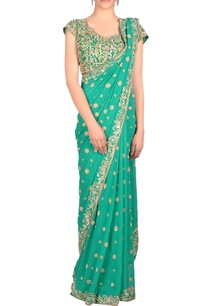 green-sari-blouse-with-embroidery