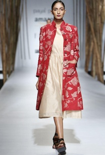 red-embroidered-jacket-with-beige-gathered-midi