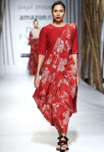 red-beige-embroidered-sari