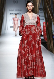 red-beige-embroidered-maxi