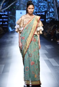 fern-green-sari-with-floral-and-bird-motif