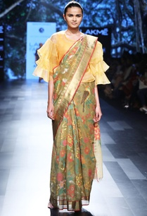moss-green-sari-with-floral-and-bird-motif
