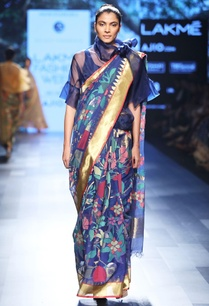 royal-blue-sari-with-floral-motif