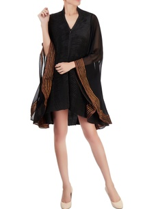 black-pleated-sheer-dress