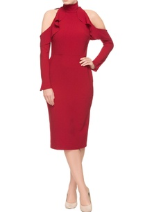 maroon-dress-with-cold-shoulder-sleeves