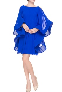 blue-flared-dress-with-cold-shoulder-sleeves