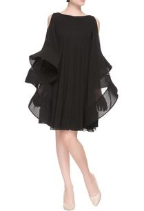 black-flared-dress-with-cold-shoulder-sleeves
