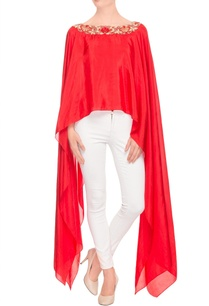 red-high-low-cape-top