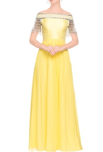 lemon-yellow-tasseled-maxi-dress