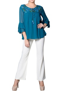 teal-blue-top-with-embroidered-yoke