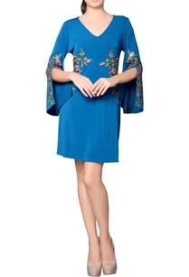 teal-blue-embroidered-dress