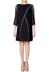 black-overlap-dress-with-embroidery