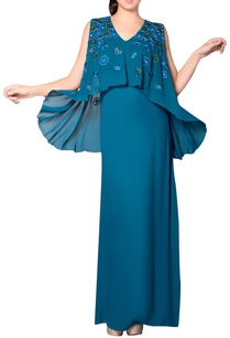 teal-blue-embroidered-gown-with-cape