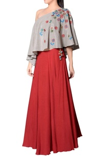 grey-red-embroidered-skirt-set
