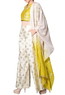 yellow-embroidered-pant-set