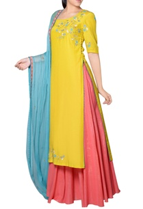 yellow-pink-blue-kurta-set
